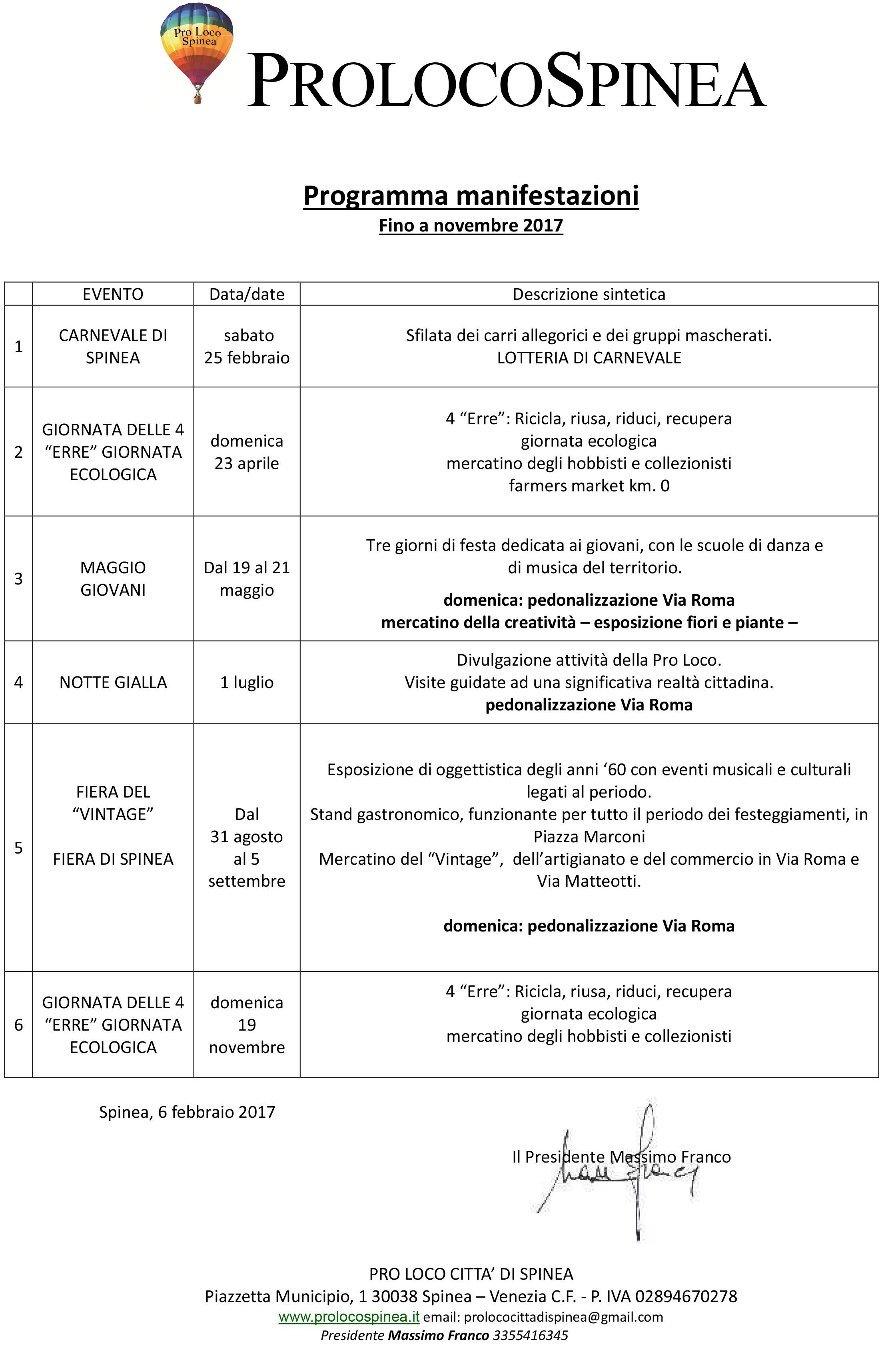 Calendario Mercatini Veneto.Calendario Eventi 2017 Pro Loco Spinea