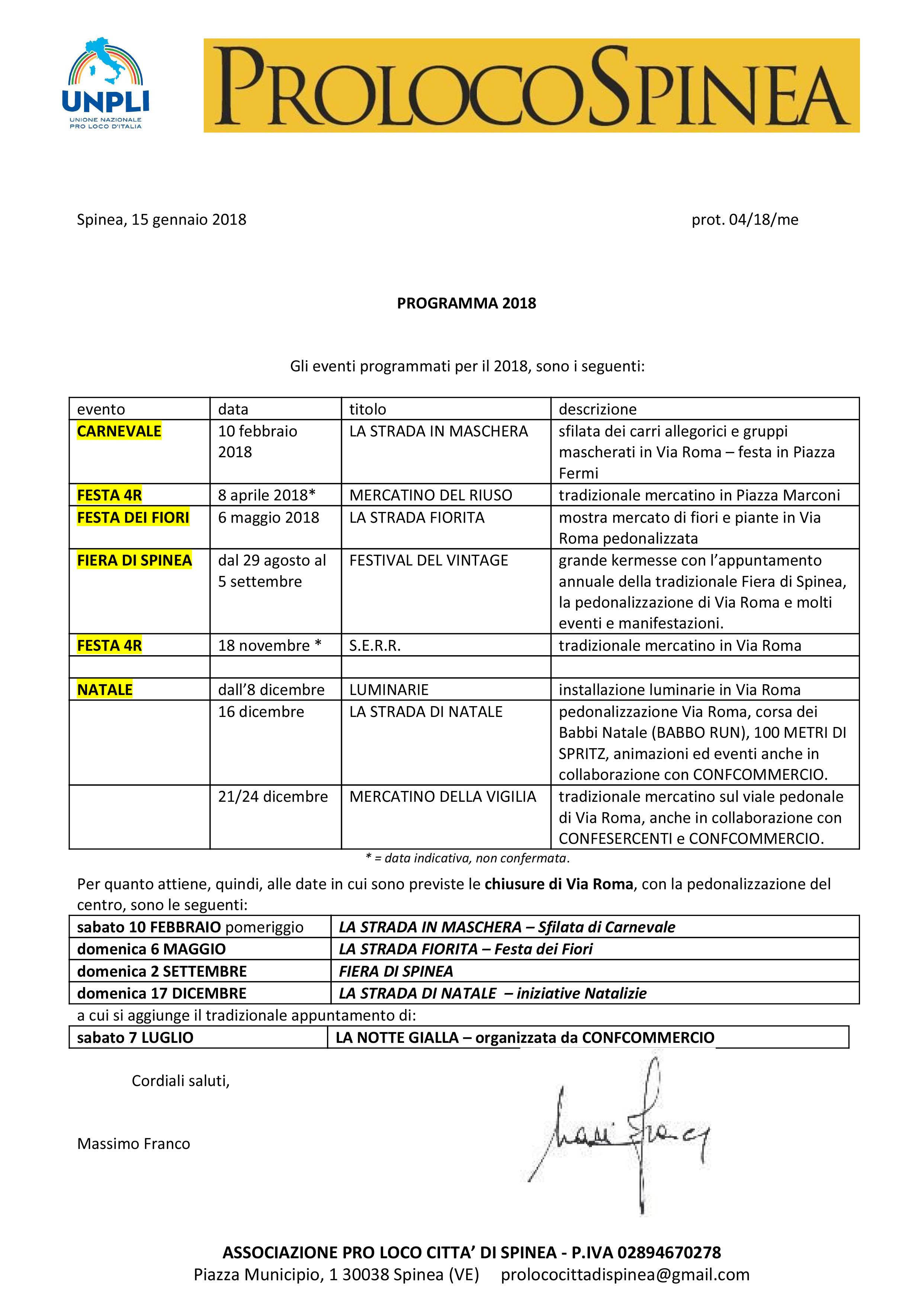 Calendario Mercatini Veneto.Calendario Eventi 2018 Pro Loco Spinea